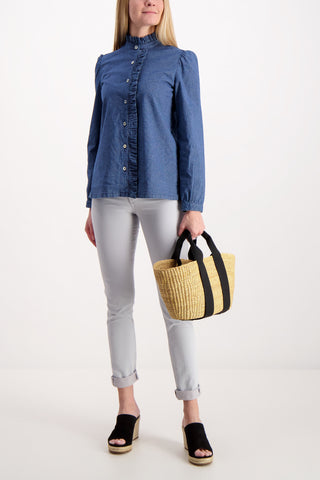 Full Body Image Of Model Wearing A.P.C. Dunst Blouse Toile Indigo Rayee