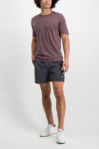 Full Body Image Of Model Wearing Arc'teryx Frame Short Sleeve Shirt Siltstone