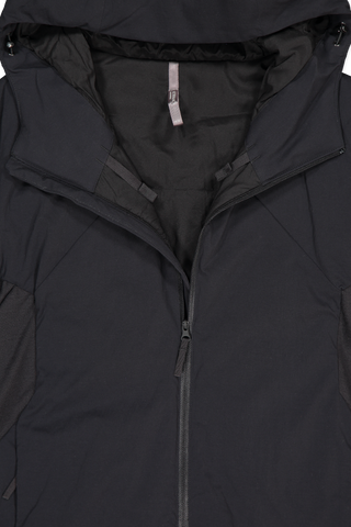 Front collar, zipper, and hood detail image of Arc'Teryx Veilance Men's Mionn Is Comp Hoody