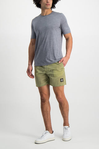 Full Body Image Of Model Wearing Frame Short Sleeve Shirt Ash Heather
