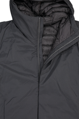 Front collar, hood, and zipper detail image of Arc'teryx Veilance Men's Anneal Black Down Jacket Black