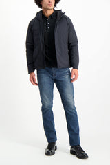 Full Body Image Of Model Wearing Arc'teryx Veilance Men's Anneal Black Down Jacket Black
