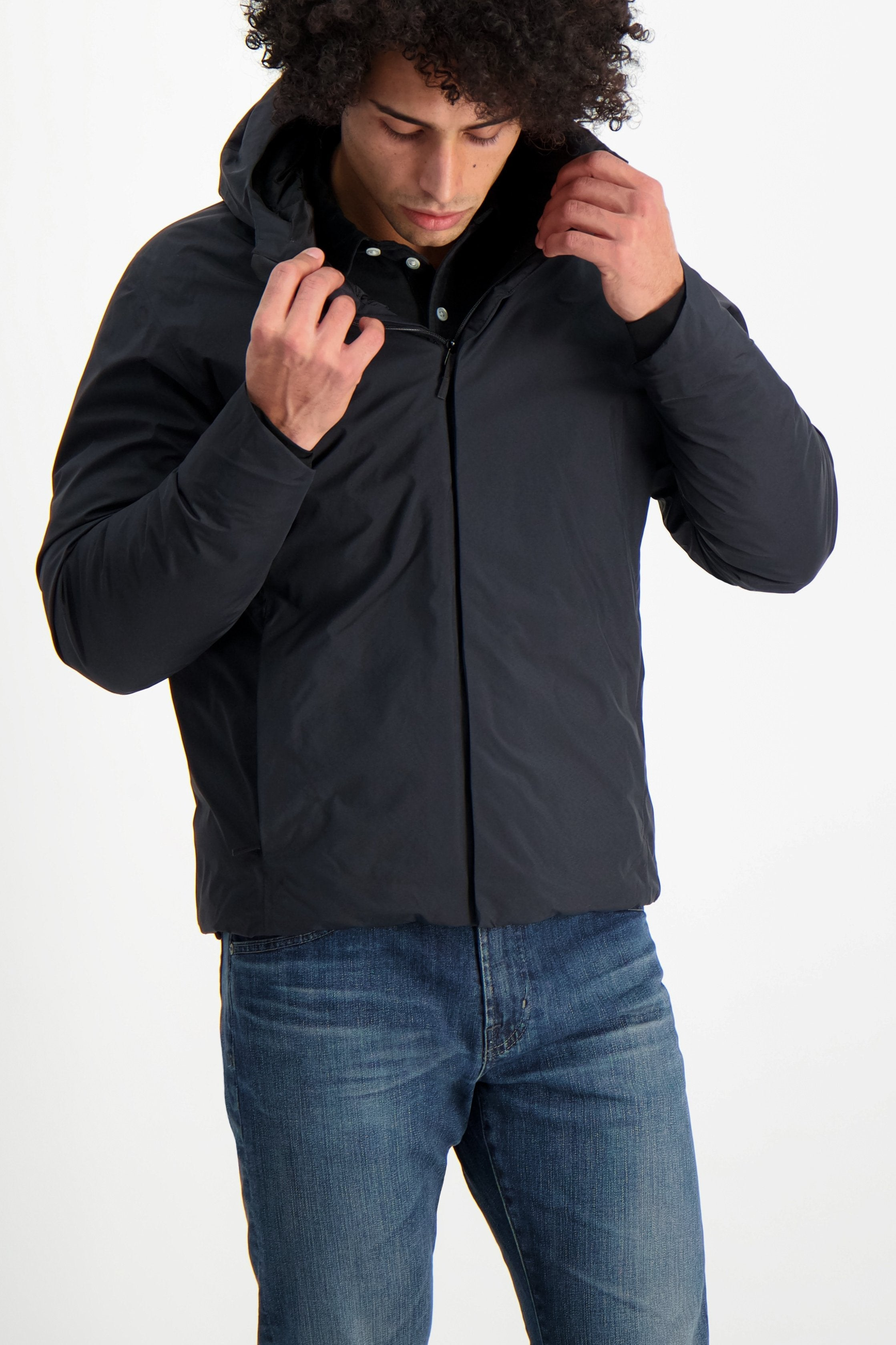Front Crop Image Of Model Wearing Arc'teryx Veilance Men's Anneal Black Down Jacket Black