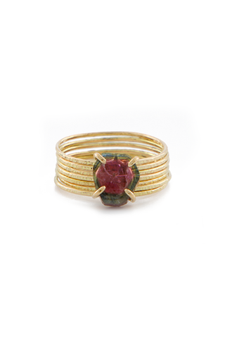 7 Band Tourmaline 18K Gold Ring