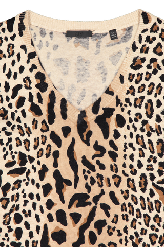 Front neckline detail image of ATM Women's Cashmere Mixed Leopard Print V-Neck Sweater