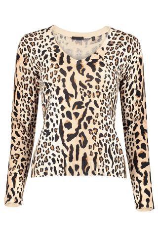 Front view image of ATM Women's Cashmere Mixed Leopard Print V-Neck Sweater