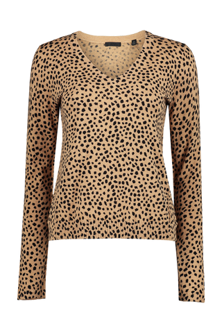Cotton Cashmere Cheetah Printed V-Neck Sweater