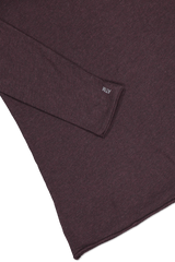 Hemline and cuff detail image of ATM Long Sleeve Heather Jersey Shirt Heather Maroon