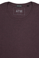 Neckline detail image of ATM Long Sleeve Heather Jersey Shirt Heather Maroon
