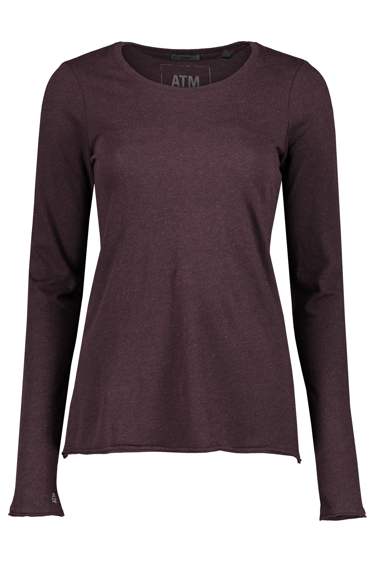 Front view image of ATM Long Sleeve Heather Jersey Shirt Heather Maroon