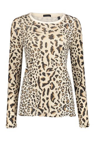 Front view image of ATM Long Sleeve Leopard Print Crewneck