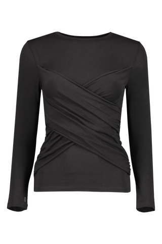 Long Sleeve Pima Cotton Crossover Top