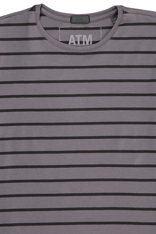 Neckline detail image of Women's ATM Long Sleeve Stripe Pima Cotton Baby Tee