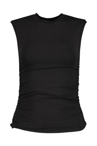 Front view image of ATM Pima Cotton Ruched Sleeveless Top Black