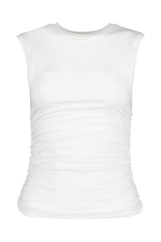Front view image of ATM Pima Cotton Ruched Sleeveless Top White