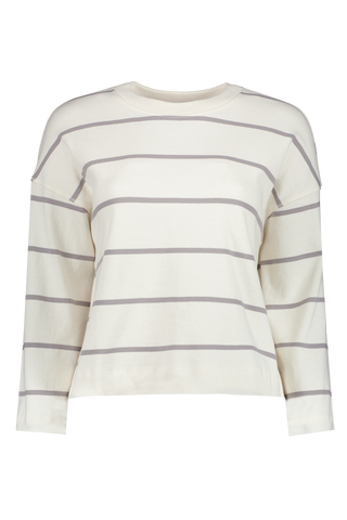 Front view image of Atm Women's Plaited Jersey Stripe Sweatshirt Chalk