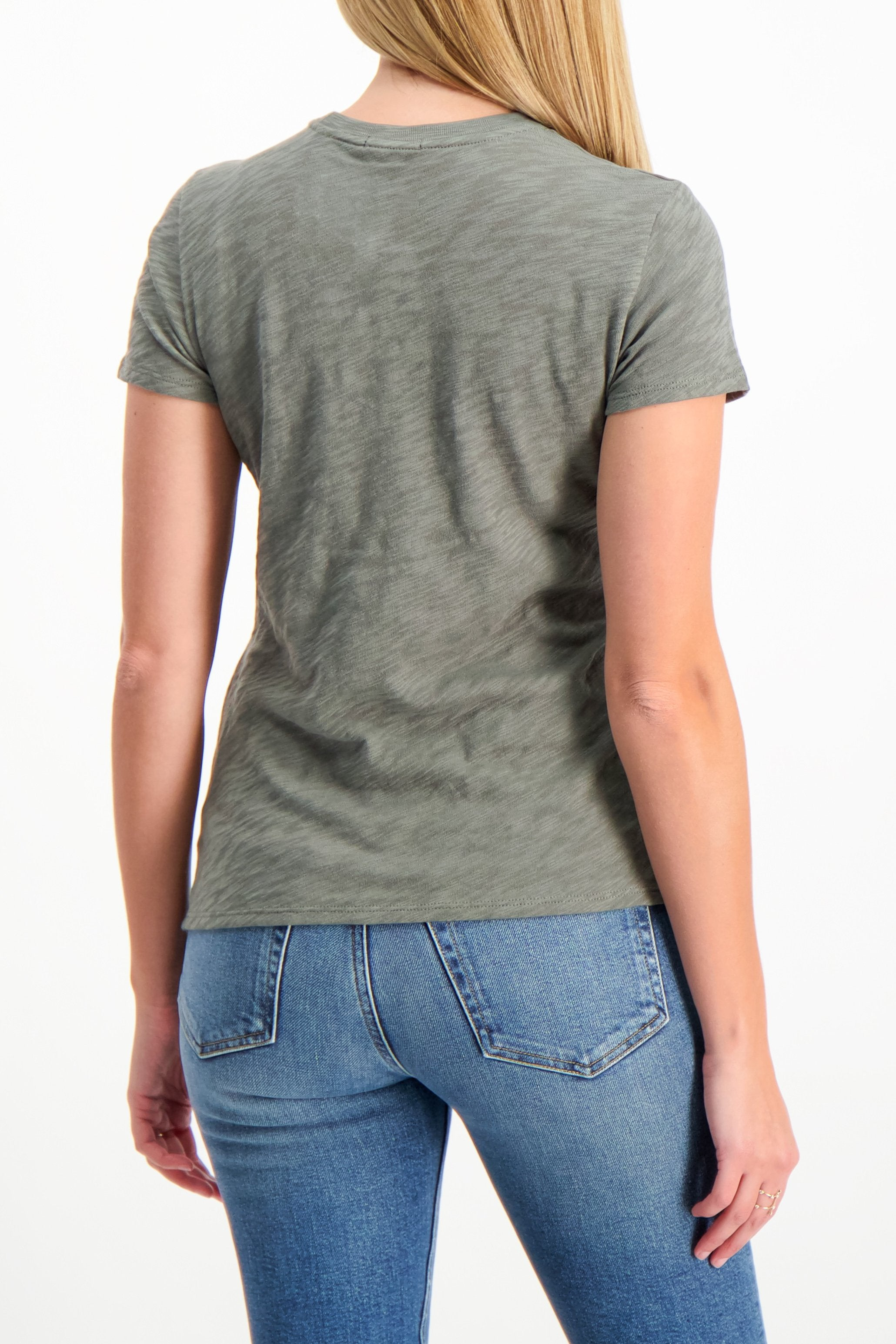 Back Crop Image Of Model Wearing ATM Schoolboy Shirt Olive