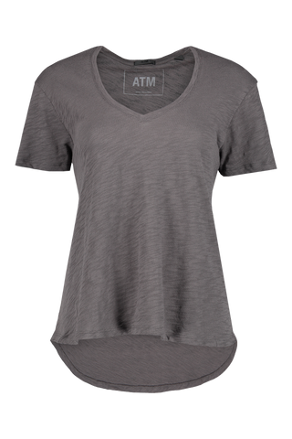 Front view image of ATM Short Sleeve Club Jersey Boyfriend V Neck Tee Asphalt