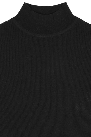 Silk Cotton Ribbed Mock Neck Sweater Black