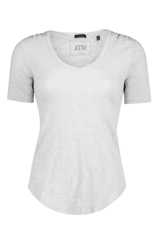 Front view image of Atm Men's Slub Jersey Short Sleeve V Neck Grey