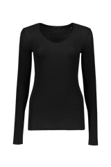 LONG SLEEVE VNECK RIB SHIRT BLACK