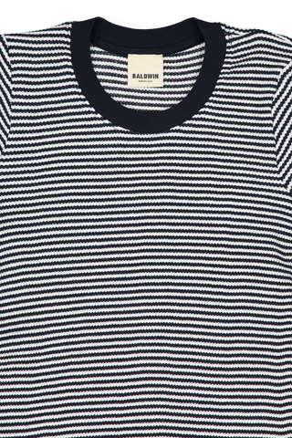 SS SABINA STRIPE SHIRT NAVY/WHITE
