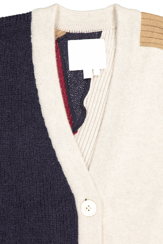 Front collar detail image of Base Mark Combination Cardigan