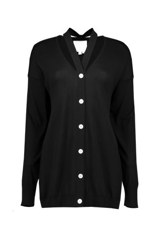 Front view image of BASE MARK Cotton Cardigan Black
