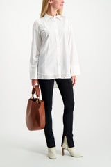 Full Body Image Of Model Wearing Base Mark Long Sleeve Combination Shirt