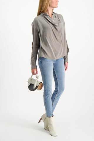 Full Body Image Of Model Wearing Base Mark Long Sleeve Drape Blouse
