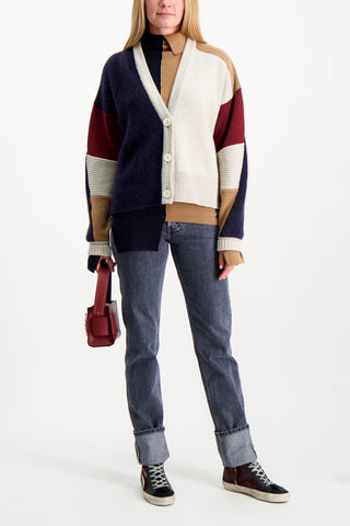 Full Body Image Of Model Wearing Base Mark Off Set Rib Sweater
