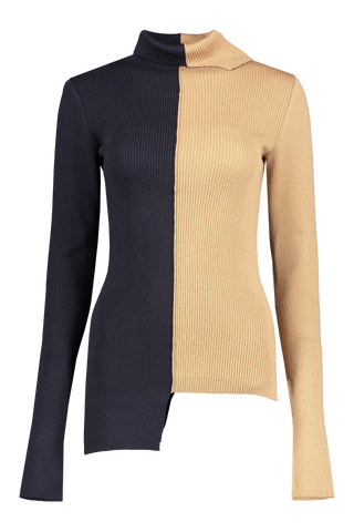 Front image of Base Mark Off Set Rib Sweater