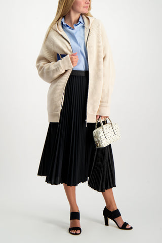 Full Body Image Of Model Wearing Base Mark Pleated Skirt