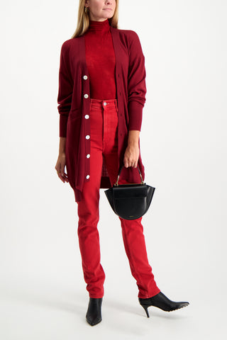 Full Body Image Of Model Wearing Base Mark Wool Cardigan Wine