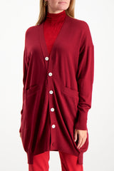 Front Crop Image Of Model Wearing Base Mark Wool Cardigan Wine