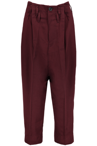 Wool Tuck Pant Bordeaux