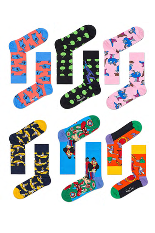 Image of Happy Socks Men's Beatles LP Collector's Box 6-Pack