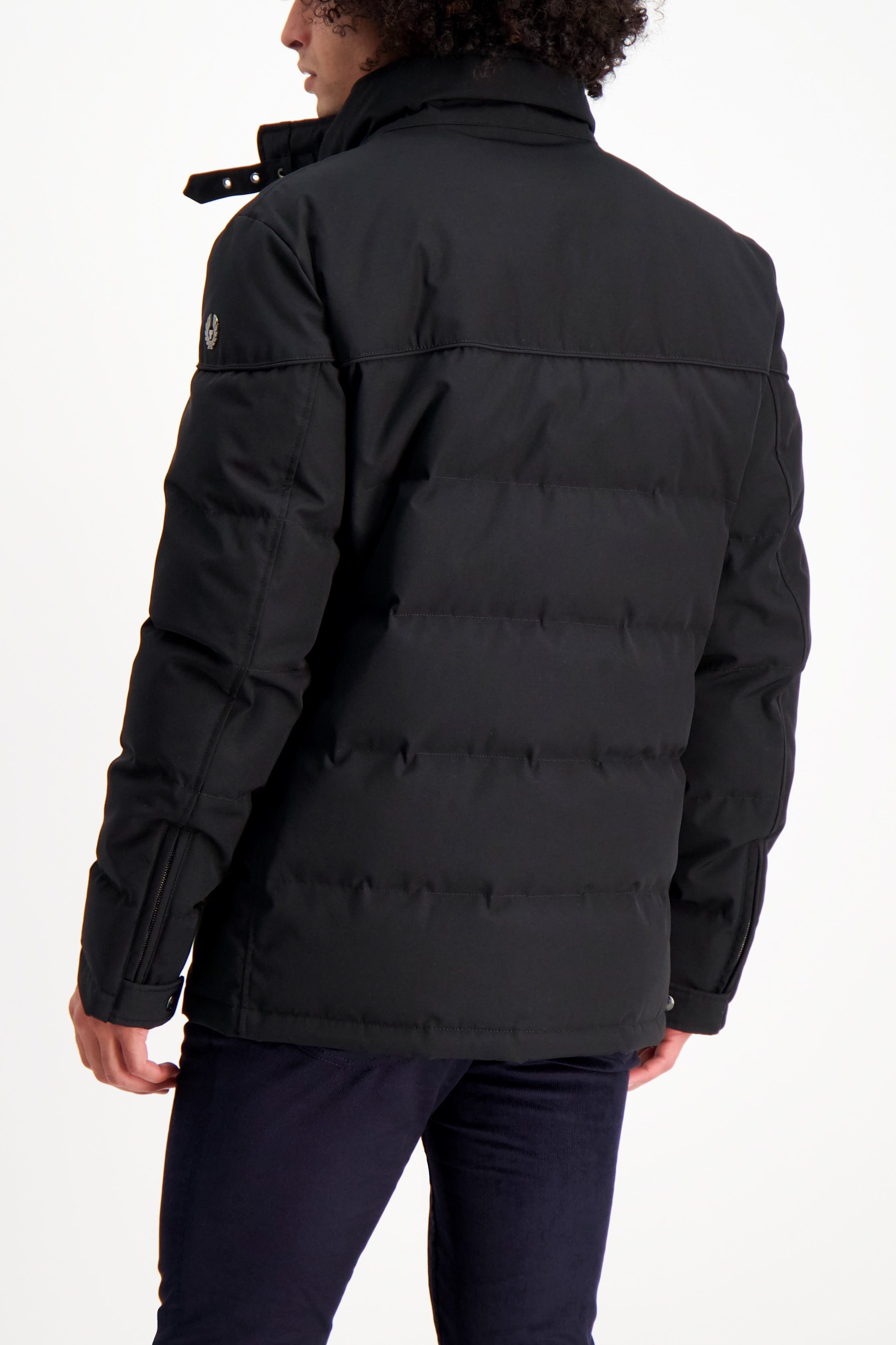 Back Crop Image Of Model Wearing Belstaff Men's Cotton Twill Mountain Jacket