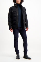 Full Body Image Of Model Wearing Belstaff Men's Cotton Twill Mountain Jacket