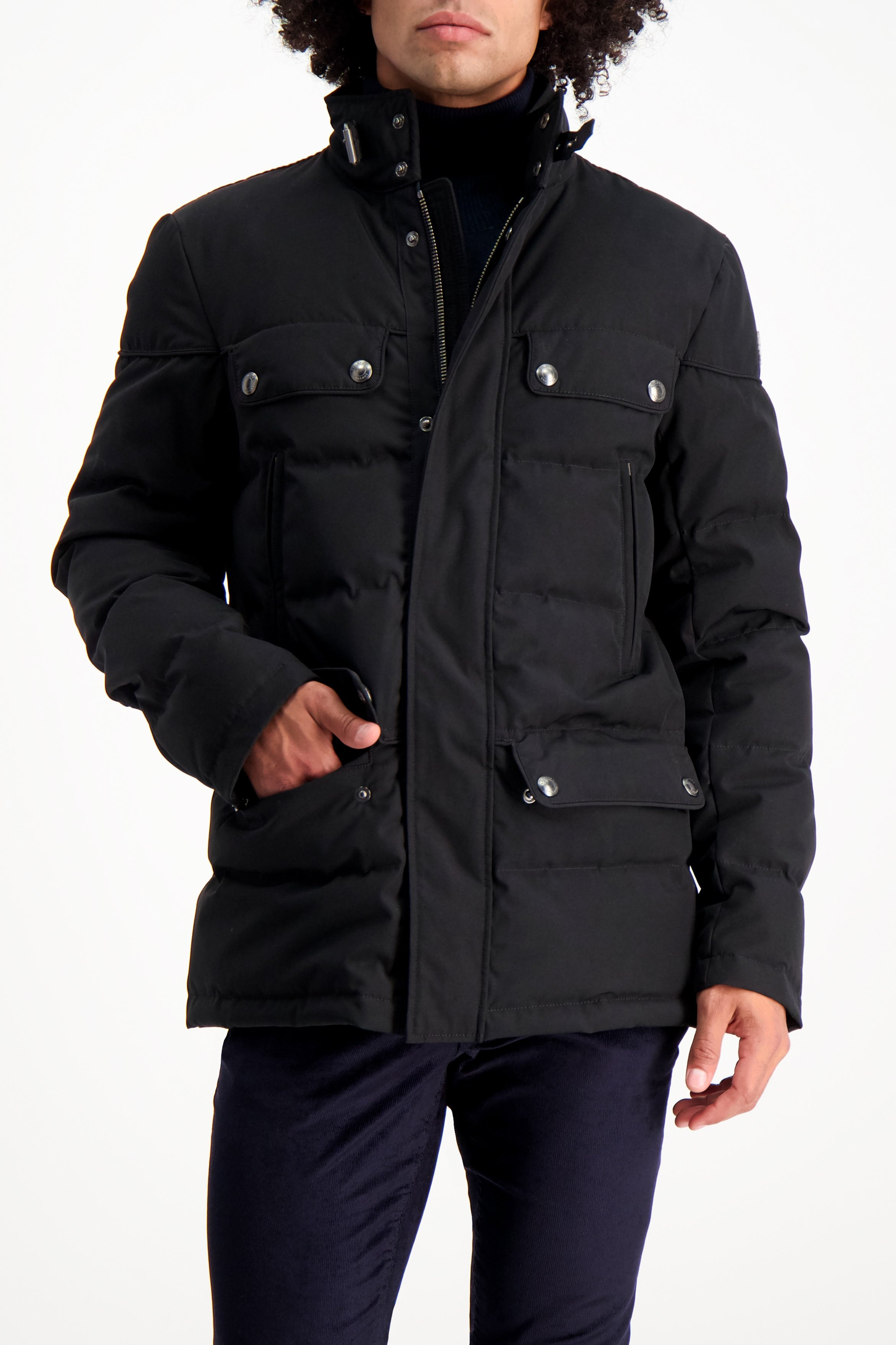 Front Crop Image Of Model Wearing Belstaff Men's Cotton Twill Mountain Jacket