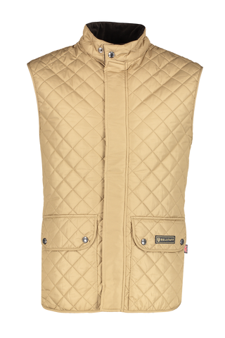 Front view image of Belstaff Men's Lightweight Technical Waistcoat Khaki