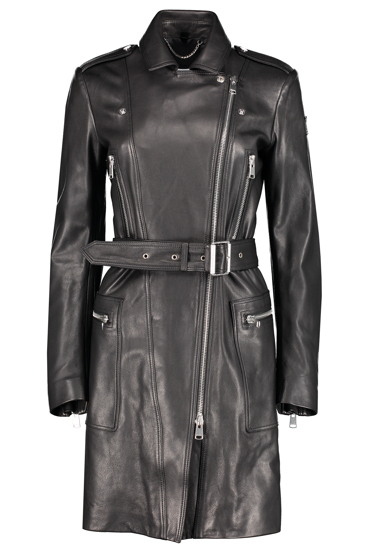 Front image of Belstaff Women's Marvingt Polished Nappa Coat