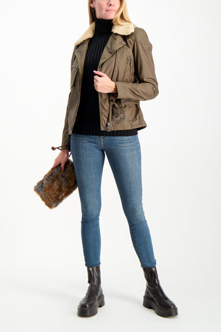 Full Body Image Of Model Wearing Belstaff Women's Sammy Miller Jacket