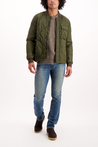 Full Body Image Of Model Wearing Belstaff Men's Textured Fuller Jacket Pine