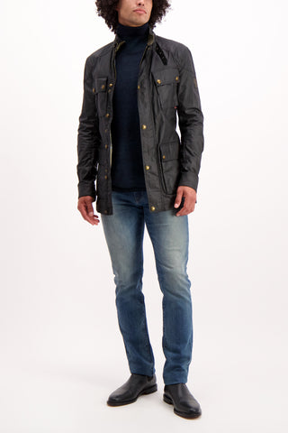 Full Body Image Of Model Wearing Belstaff Men's Waxed Cotton Trialmaster Jacket