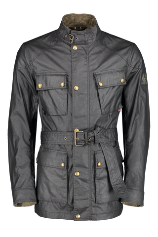 Front image of Belstaff Men's Waxed Cotton Trialmaster Jacket