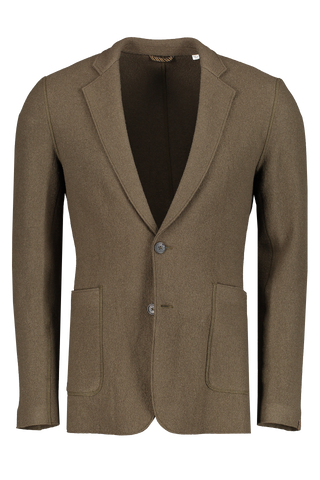 Front view image of Billy Reid Boiled Wool Sportcoat Olive