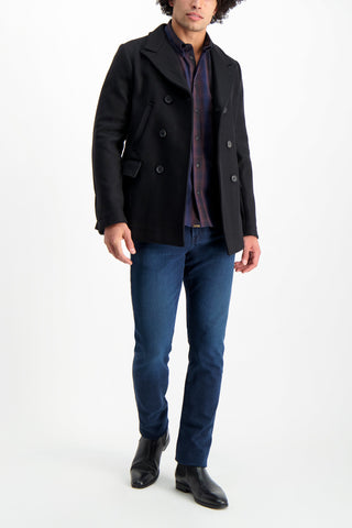 Full Body Image Of Model Wearing Billy Reid Bond Peacoat