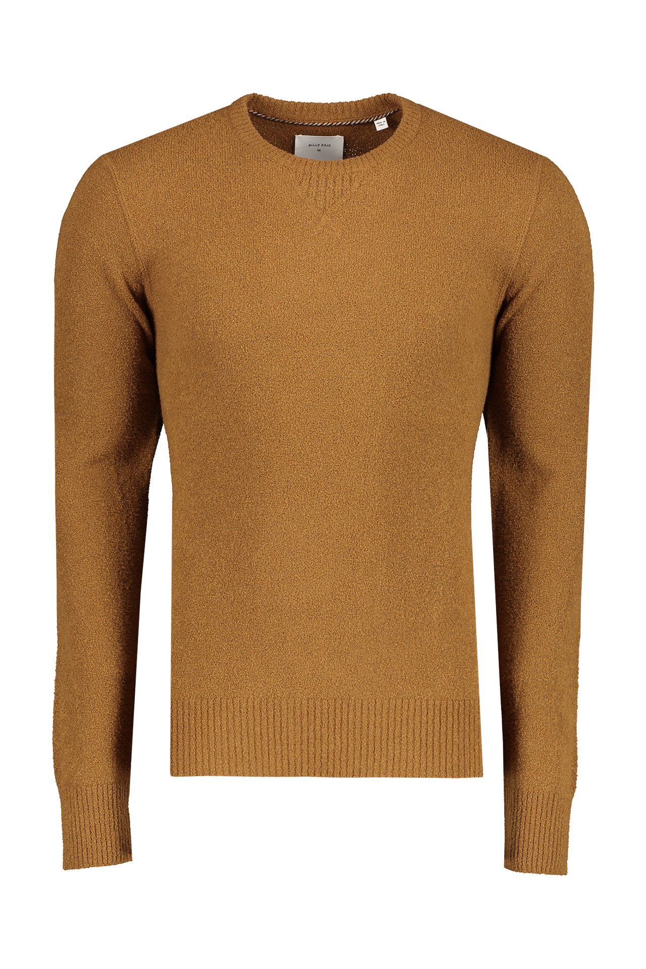 Front image view of Billy Reid Men's Boucle Crewneck Sweater Caramel
