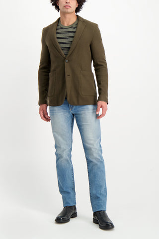 Full Body Image Of Model Wearing Billy Reid Boucle Stripe Crew Olive